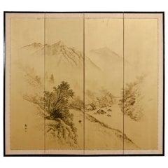 Japanese Four-Panel Byobu Gilt Landscape Screen