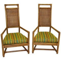 1950s Henry Olko Mid Century Rattan Throne Chairs for Willow and Reed