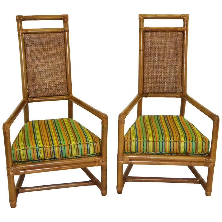 1950s Tommi Parzinger Mid Century Rattan Throne Chairs for Willow and Reed