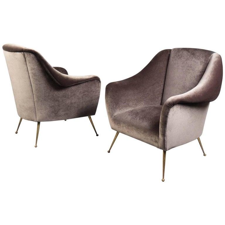 Pair of Over-Upholstered Velvet Armchairs, Italy, 1950s