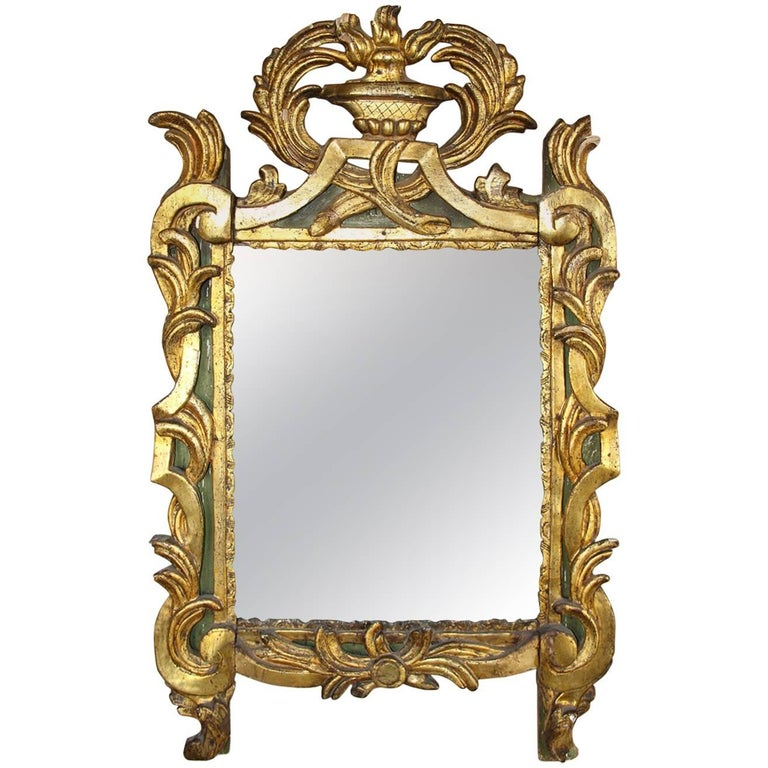 18th Century French Period Louis XVI Giltwood Mirror with Original Mirror Plate For Sale