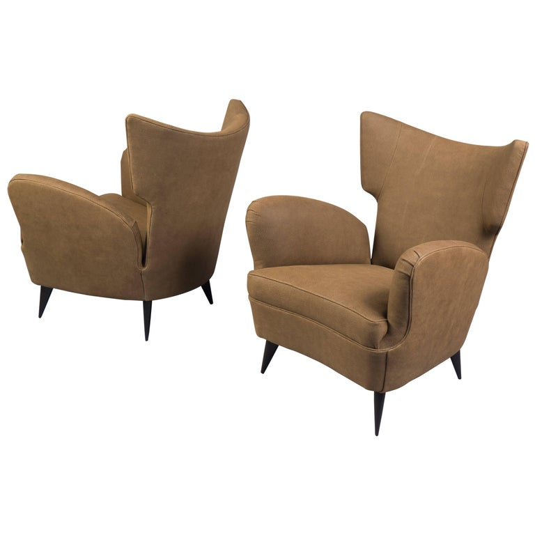 Pair of Leather Wingback Armchairs, Italy, 1950s