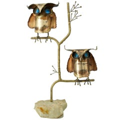 1967 Vintage C. Jere Two Brass Hoot Owls Tree Marble Table Sculpture Bird, 1960s