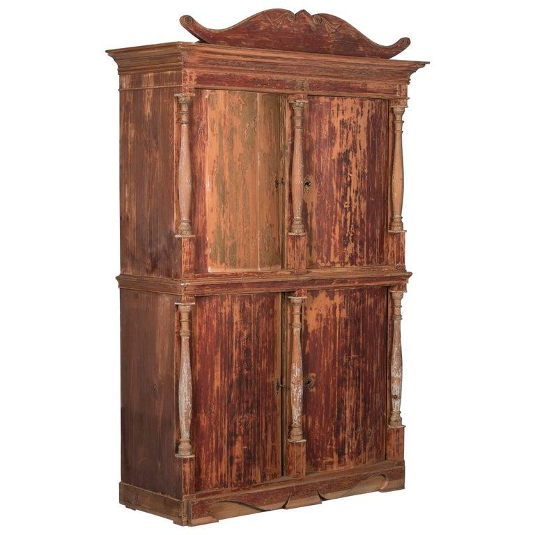 Antique Danish Pine Bow Front Four-Door Cabinet with Original Red Paint For  Sale - Antique Danish Pine Bow Front Four-Door Cabinet With Original Red
