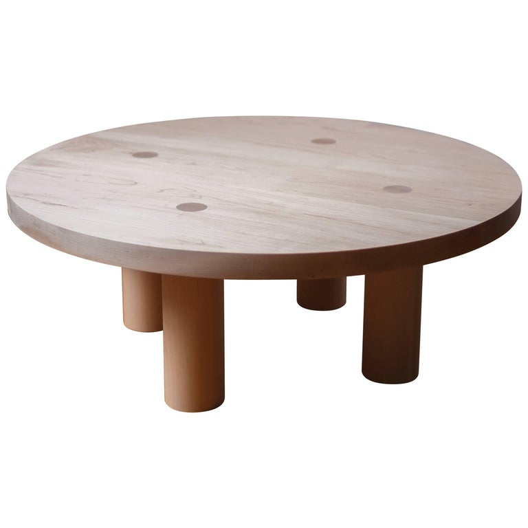 Contemporary Wood Column Coffee Table in White Oak by Fort Standard For Sale