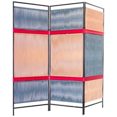 1950s Folding Screen in Iron and Cotton Cords by Joaquim Tenreiro, Brazil Modern
