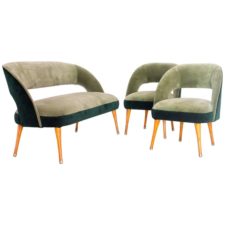 Set of Club Chairs and Settee in Pau Marfim and Velvet, Brazil, Early 1950s
