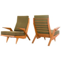 1950s Pair of Lounge Chairs in Pau Marfim Wood by Acácio Gil Borsoi, Brazil