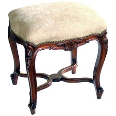 Elegant French Regence Style Carved Walnut Stool with Cut-Suede Upholstery