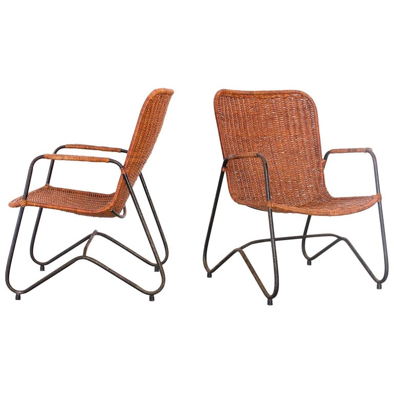 Pair of Armchairs in Iron and Reed, Brazil, 1960s