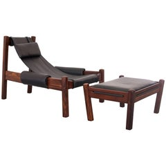 "1960s ""Poltronatus"" Lounge Chair with Ottoman in Rosewood and Leather, Brazil"