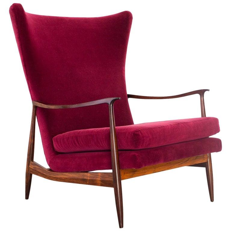 Móveis Cimo Wingback Lounge Chair in Brazilian Rosewood and Velvet, Brazil 1960s