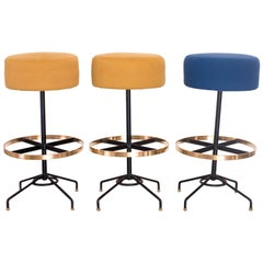 Set of Three Bar Stools in Iron and Brass by Acácio Gil Borsoi, Brazil, 1950's