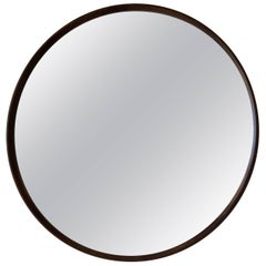 Circular Plane Wall Mirror in Walnut by Fort Standard