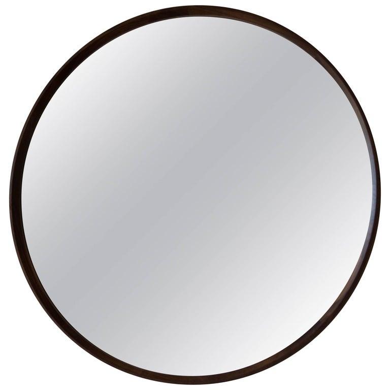 Circular Plane Wall Mirror in Walnut by Fort Standard