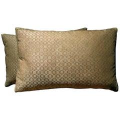 Antique Pair of Metallic Silk Pillow, circa 18th Century, 1589p - 1590p