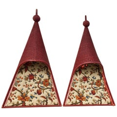 Pair of Whimsical Wicker Twin Headboards