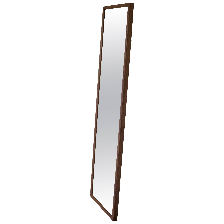 Wood Rectangular Plane Floor Mirror in Walnut by Fort Standard