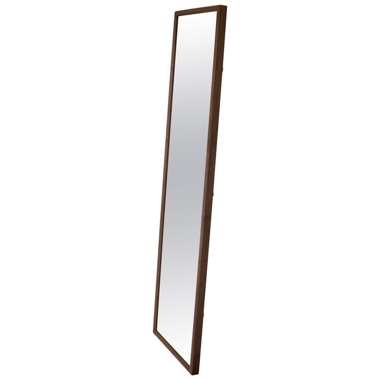 Wood Rectangular Plane Floor Mirror in Walnut by Fort Standard For Sale