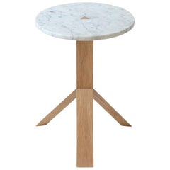 Contemporary Elevate Side Table in White Oak Wood and Stone by Fort Standard