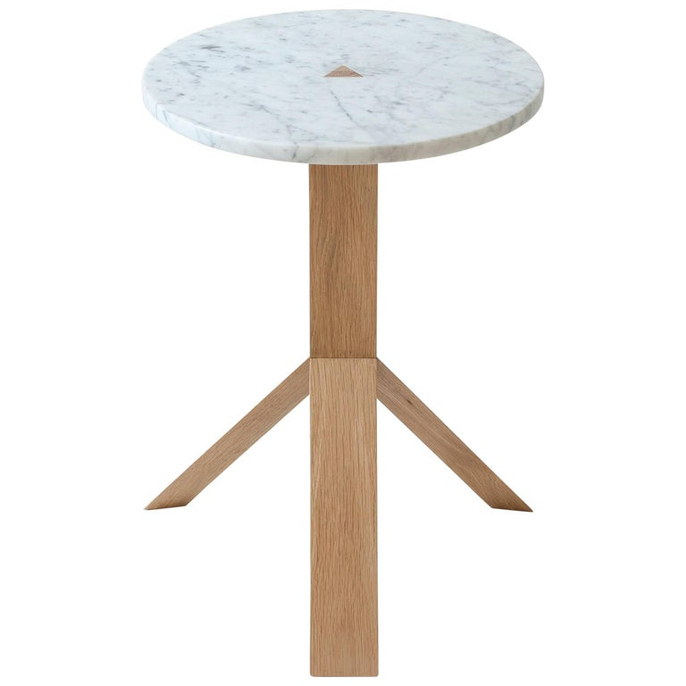 Contemporary Elevate Side Table in White Oak Wood and Stone by Fort Standard For Sale