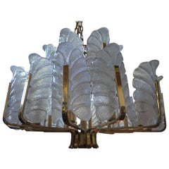 Brass and Glass Chandelier by Carl Fagerlund for Orrefors, circa 1960