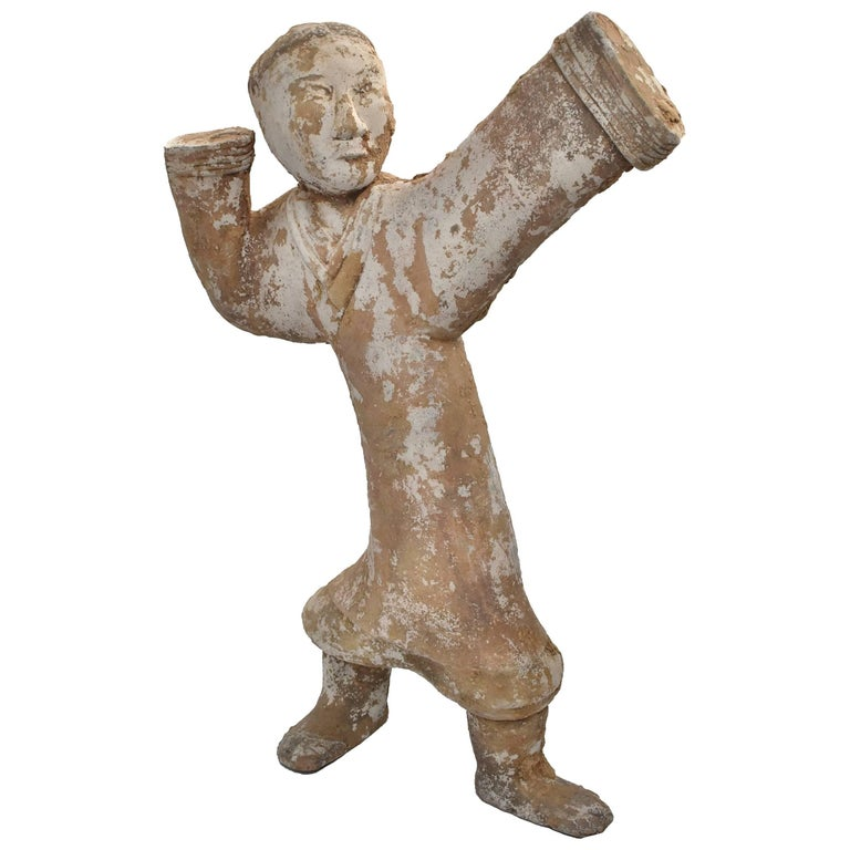 Large Pottery Figure Dancer, Han Style Terracotta Servant