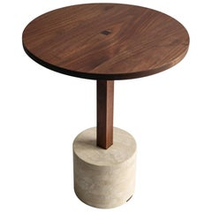 Contemporary Foundation Side Table in Walnut Wood and Stone by Fort Standard