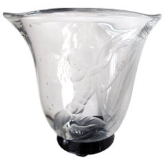 Good Quality Swedish Art Deco Etched Glass Vase by Simon Gate for Orrefors