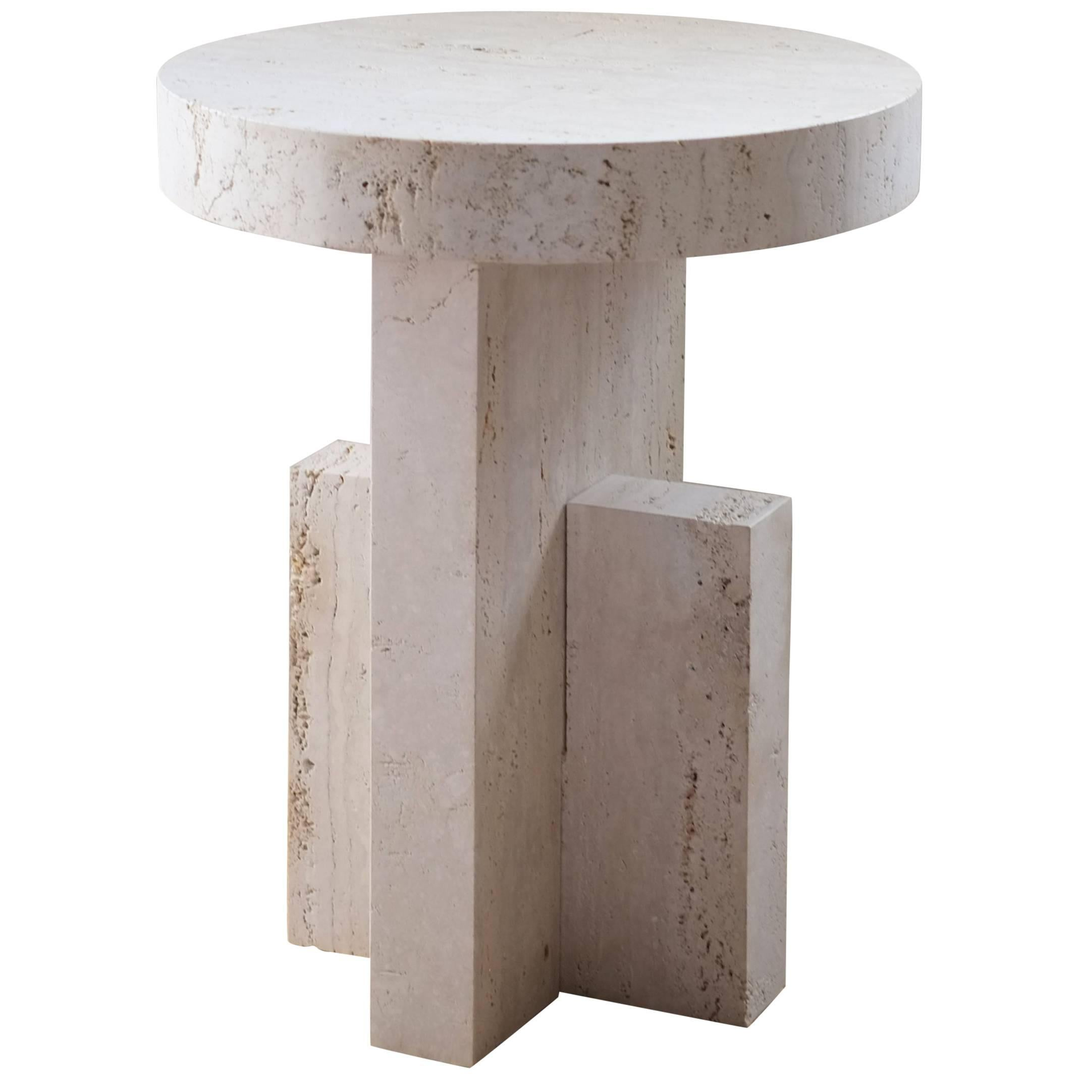 Contemporary Planar Side Table in Travertine Stone by Fort Standard