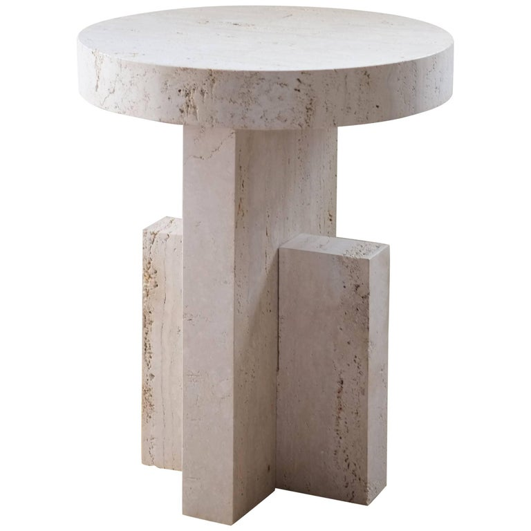 Contemporary Planar Side Table in Travertine Stone by Fort Standard For Sale
