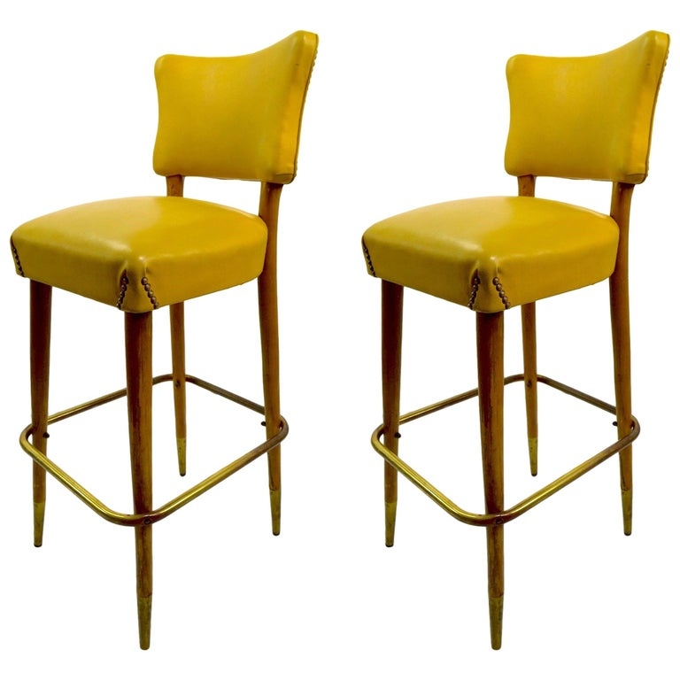 Pair of Mid Century Bar Counter Stools