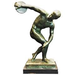 Discobolus, Art Deco Patinated Bronze Sculpture, circa 1925