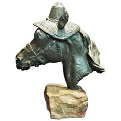 Charles Valton, Horse Head in Straw Hat, Patinated Bronze Sculpture, circa 1880s