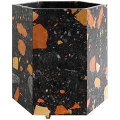 Contemporary Hexagonal Black Marmoreal Stone Planter by Fort Standard, in Stock