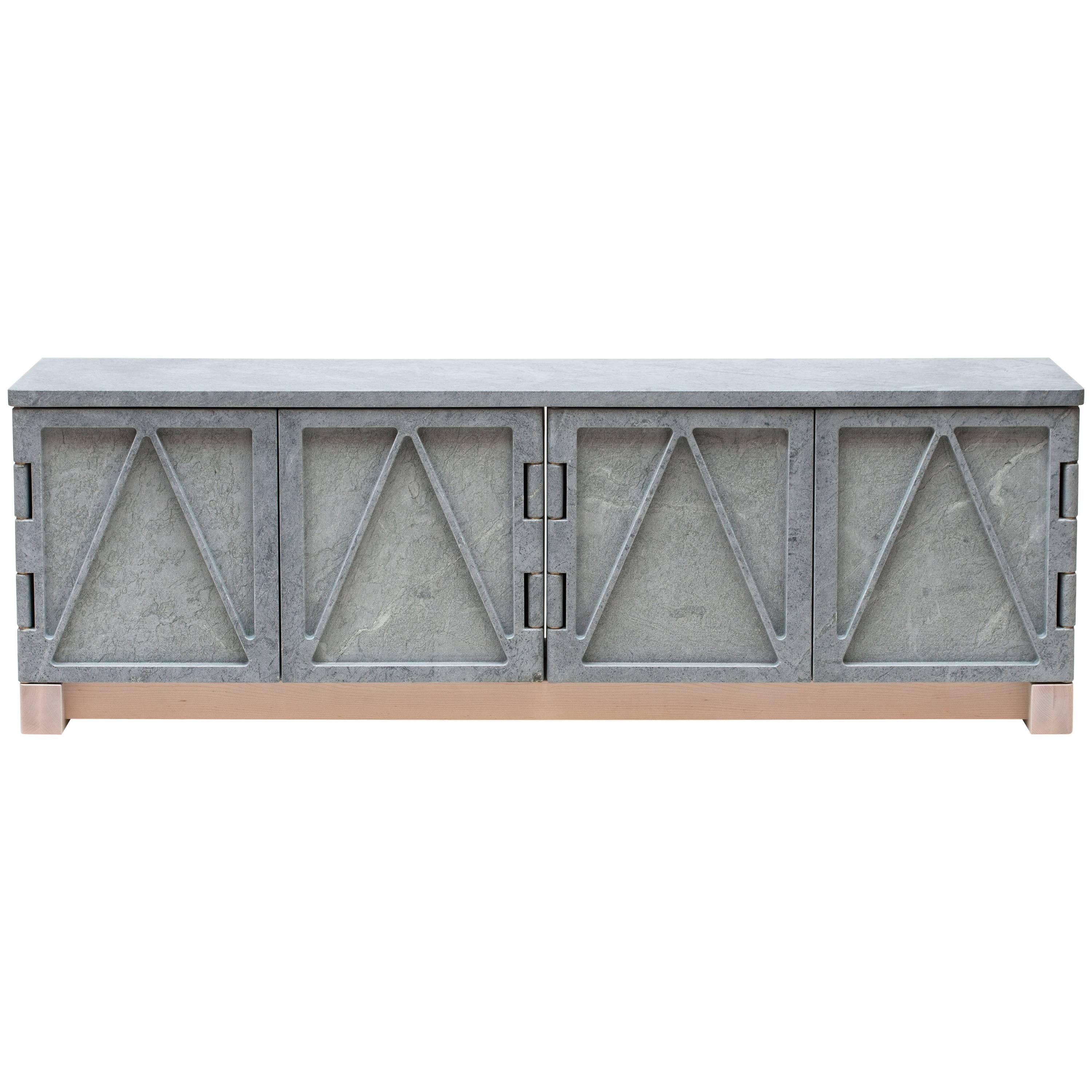 Limited Edition Relief Stone Credenza in Soapstone by Fort Standard