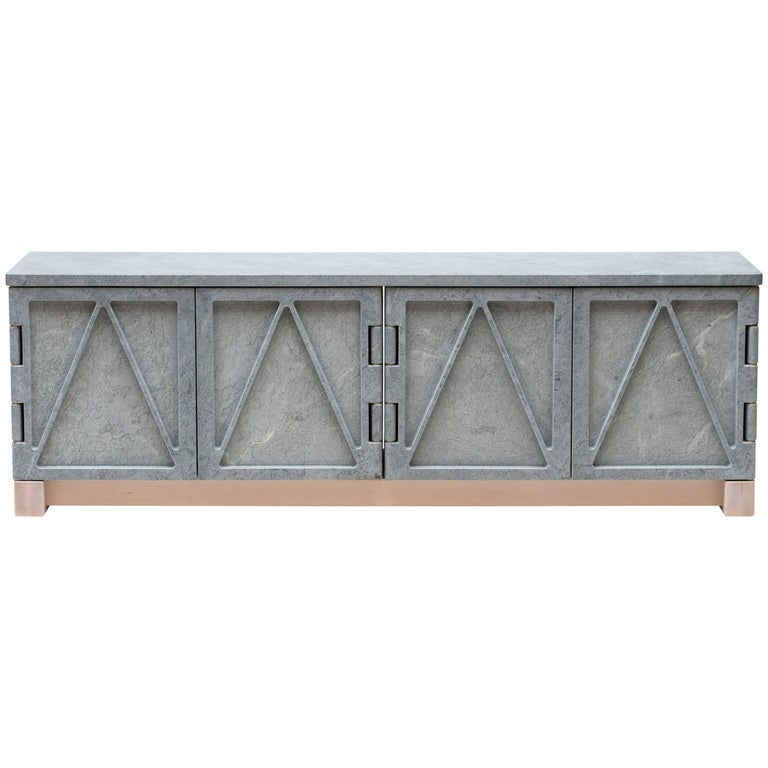 Limited Edition Relief Stone Credenza in Soapstone by Fort Standard For Sale