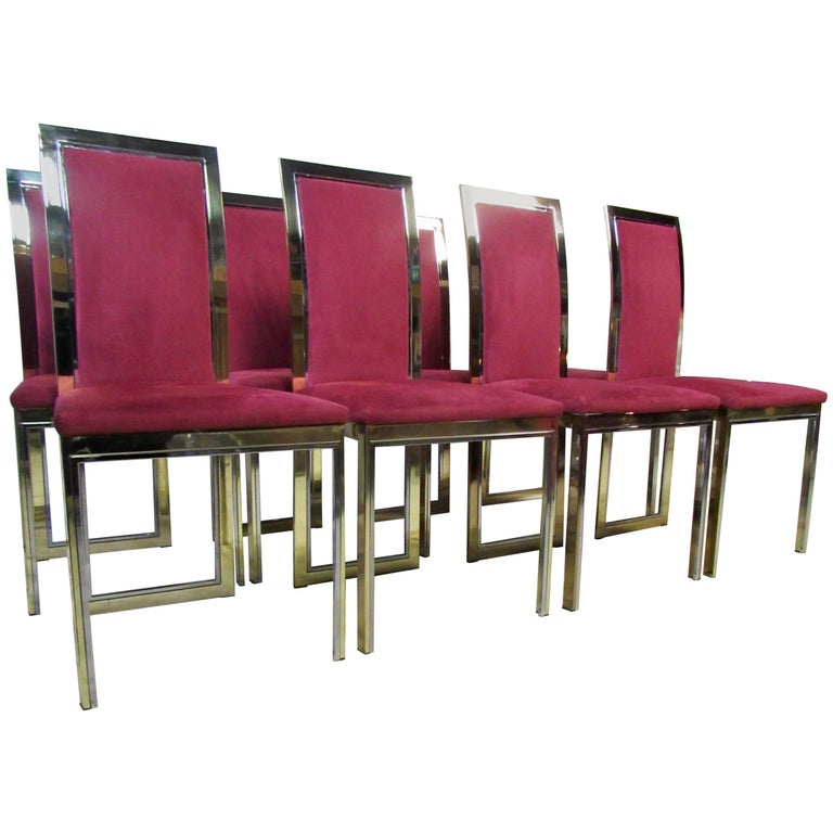 Eight Romeo Rega Attributed To Brass and Chrome Dining Chairs, Italian, 1970s