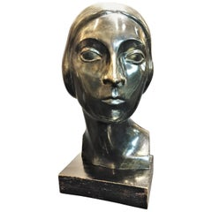 Erwin Kormendi-Frim, Head, Hand-Carved Ebonized Wood Sculpture, circa 1930s