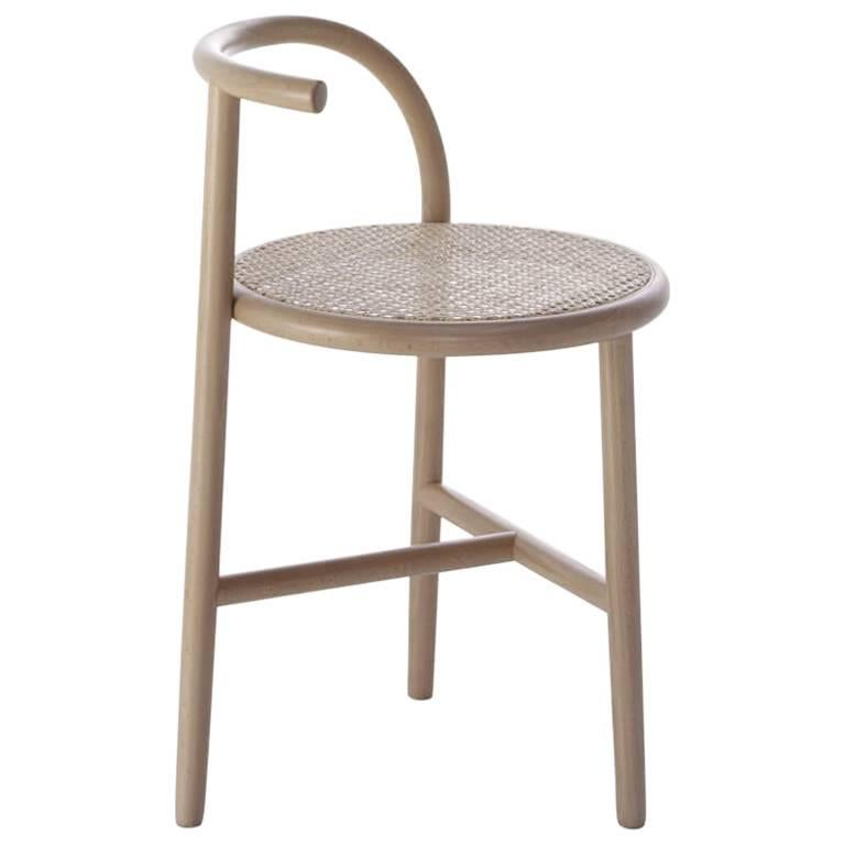 Single Curve Stool with Woven Cane Seat by Nendo & GTV For Sale