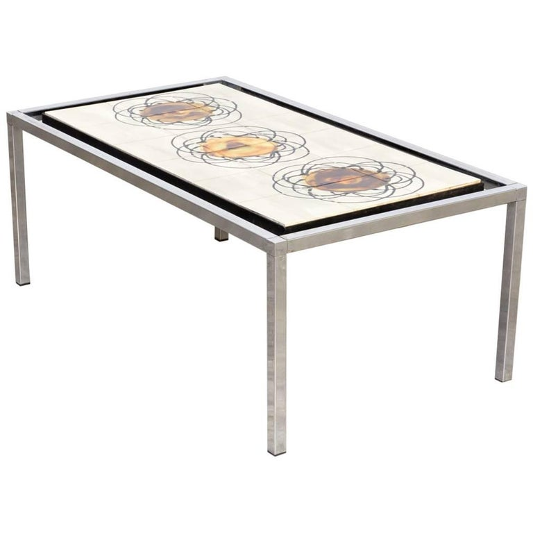 1960s Juliette Belarti Hand-Painted Coffee Table