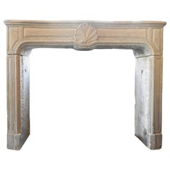 19th Century Louis XV Fireplace in Limestone