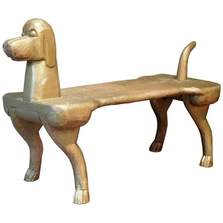 Hand-Carved Postmodernism Dog Footstool, Stephen Huneck Folk Art, circa 2000
