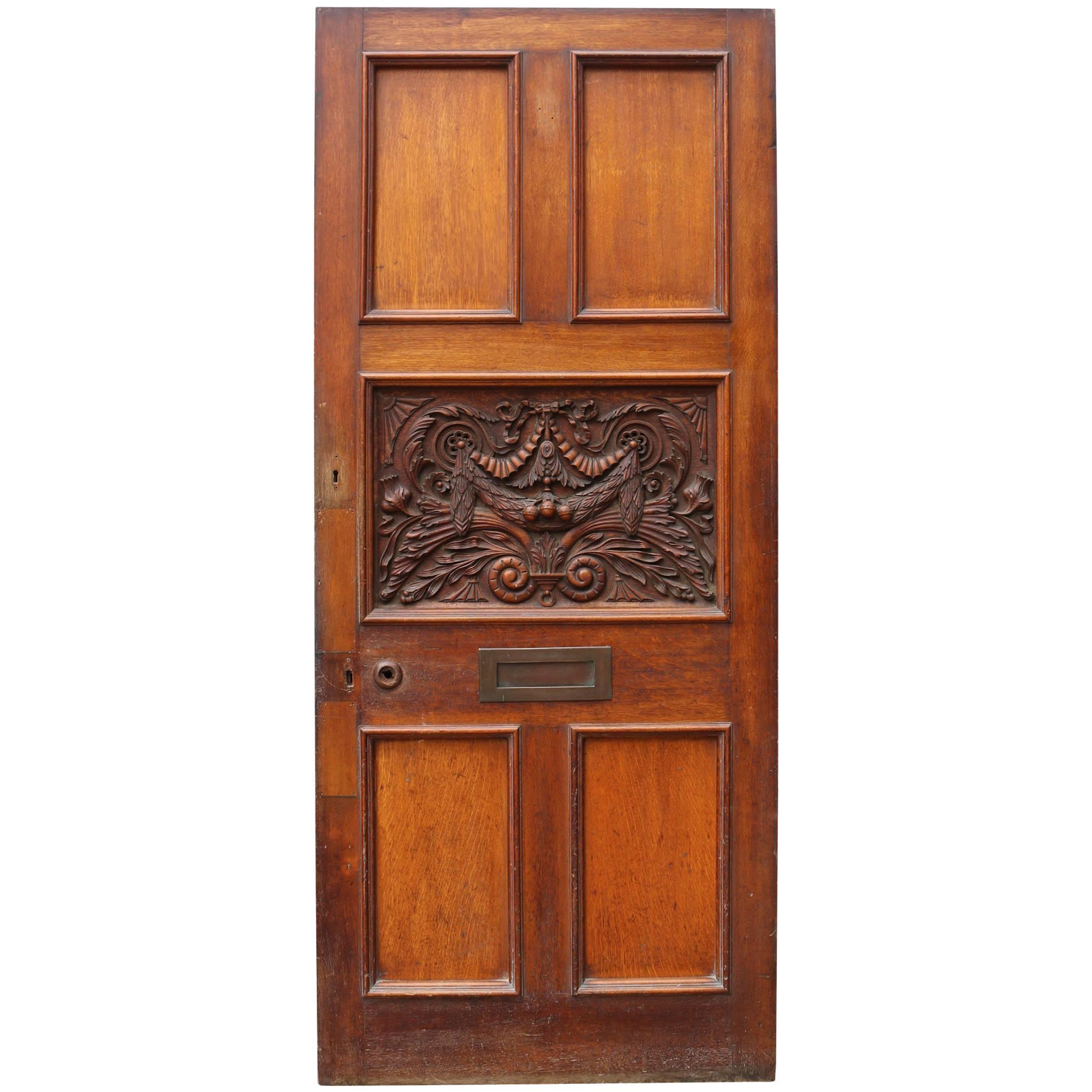 Victorian Carved Oak Front or Exterior Door