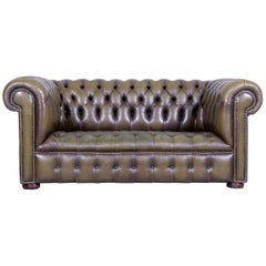 Chesterfield Leather Sofa Olive Green Couch Vintage Two-Seat