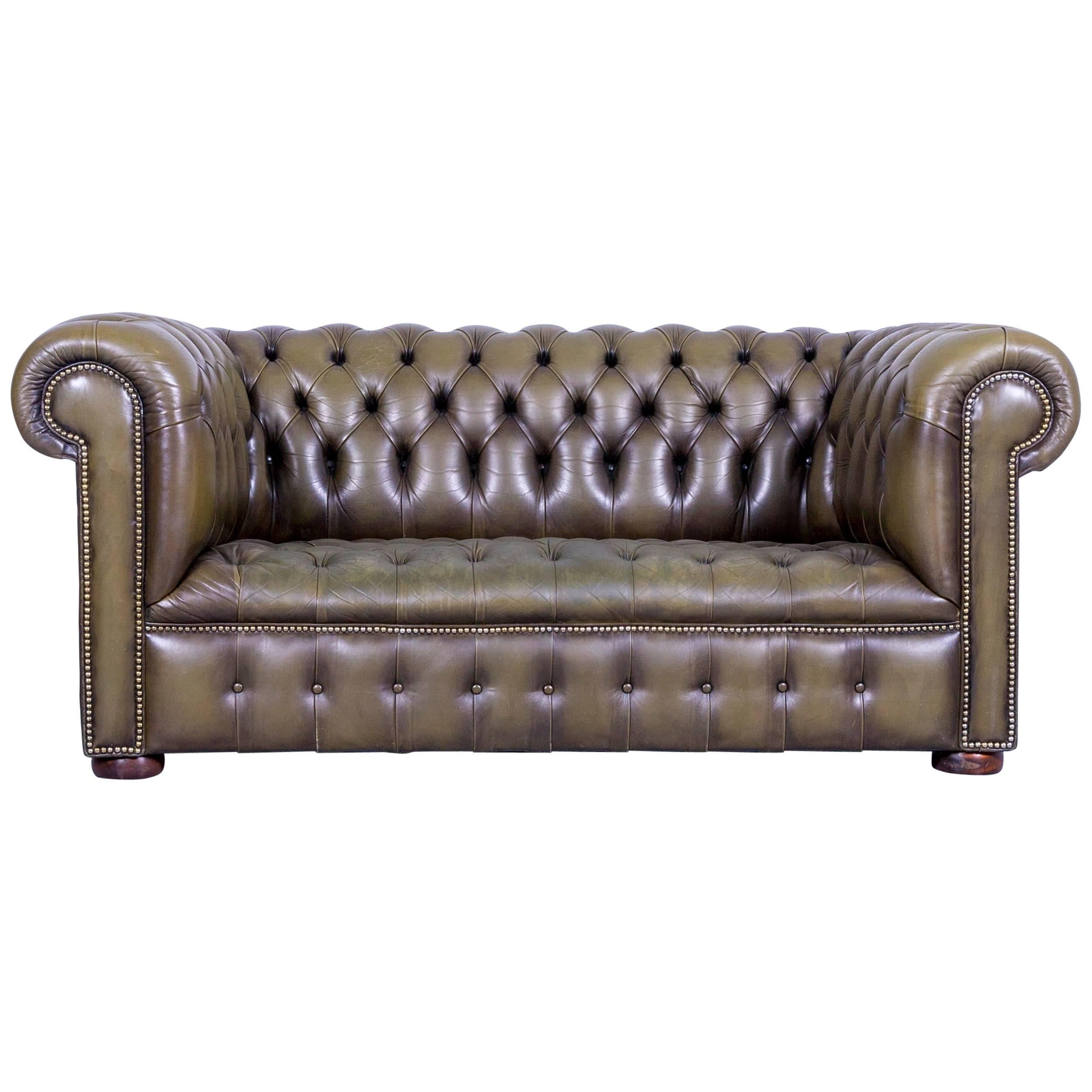 Chesterfield Leather Sofa Olive Green Couch Vintage Two Seat For Sale