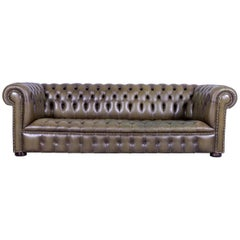 Chesterfield Leather Sofa Olive Green Couch Vintage Three-Seat