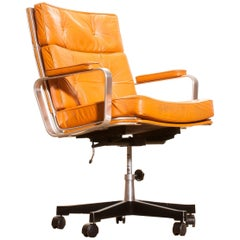 1970s, Leather and Aluminium Desk Chair by Karl Erik Ekselius