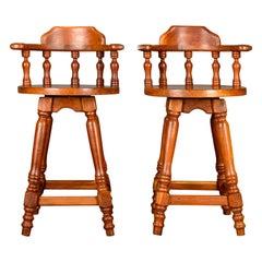 Pair of Large Swivel, Bar Stools, Oriental, Tall, Solid, Hardwood