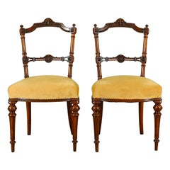 Pair of Antique Chairs, English, Walnut, Aesthetic Period, circa 1880
